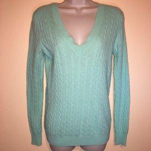 J Crew Wool Blend V Neck Caleb Knit Sweater S Grn